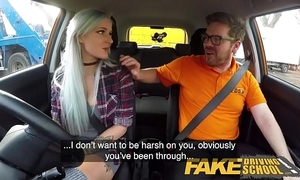 Fake driving tutor busty goth greenhorn in anal with the addition of sex toys homework finale