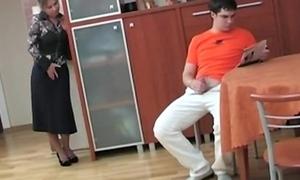 Russian nurturer affronting her step son masterbating