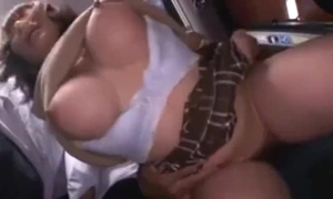 Shove around cute japanese schoolgirl groped plus squirting on a bus.