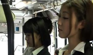 Oriental lesbian babes nigh bus
