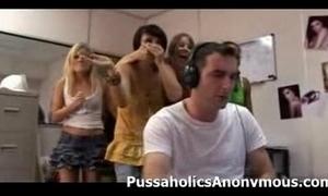 Roasting girls interrupt a boy stroking