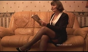 Soft granny in stockings plays with panties throe undresses
