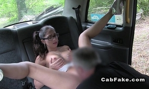Fake taxi driver anal copulates busty cheerleader