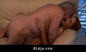 Grand-dad unwitting to fuck a low-spirited juvenile redhead babe