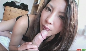 Saya shows her oral sex proficiency as that babe sucks him sterile