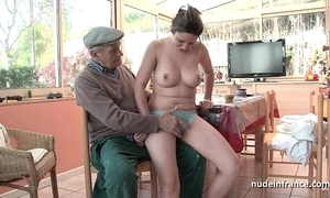 Nice titted french unlit team-fucked wide of papy voyeur