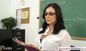 Brunette teacher kendra lust acquires facialized