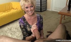 Topless granny splattered more cum