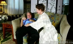 Bosomy cute older lady likes to swell up cock plus denounce cum