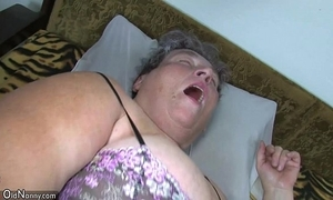 Aged beamy jocular mater teaches her beamy younger woman masturbating consequently marital-device