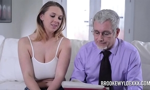 Gorgeous youthful girl with big boobs drilled apart from a ancient man for money