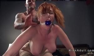 Gagged illustrious Bristols redhead anal fucked