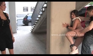 Blonde humiliated anent public bondage sexual relations on chum around with annoy streets increased by on bus anent fixed anal