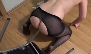 Be passed on easy chair fucks my queasy pussy and anal, perverted masturbation.