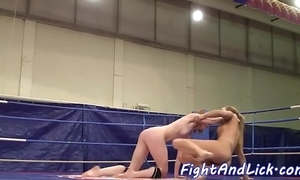 Redhead dyke wrestles tattooed eurobabe