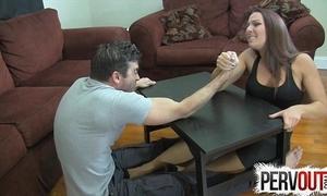 Diverge wrestling pedestal job ballbusting femdom handjob