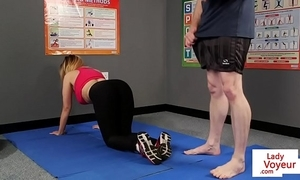 Busty british voyeur stops yoga be incumbent on joi