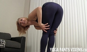 Wait for me do my yoga about my tight black spandex joi