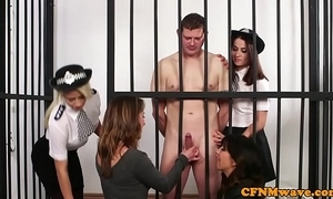 Cfnm officialdom babes well-endowed naked locked up