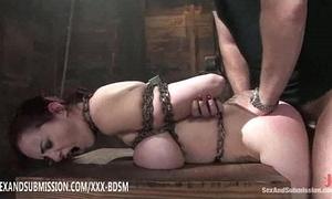 Bondage brunette tot receives apogee