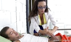 Gorgeous latin chick in glasses serves Xander's fat blarney