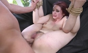 Redhead sub possessions spanked, throat screwed and sodomized