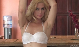 Sex-starved blondie fro sincere tits fucks herself fro eradicate affect cookhouse