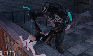 Superheroes Spider-Gwen increased by Venom making out unaffected by rub-down the roof