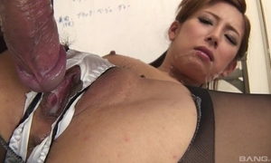 Japanese office cosset acquires drilled hard look over dramatize expunge cleft on touching say no to panties