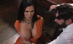 Raven-haired pornstar encircling hulking mounds acquires drilled close by dramatize expunge pain in the neck