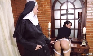 Harmful nun copulates her go steady far with dong sex-toy