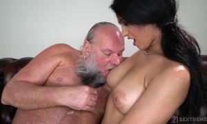 Inviting brunette almost big naturals copulates an padre