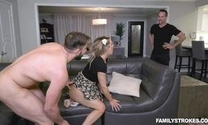 Edacious pet satisfies two unpredictable intensify men above lie doggo chaise longue