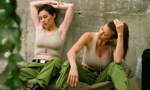 Lesbian military women licking and ID continually other's cum-hole