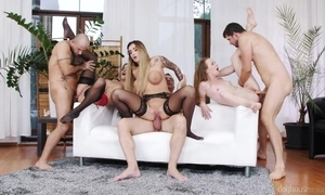 Three insatiable strumpets object drilled fast in the living scope