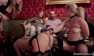 Bondservant sexy slaves in sadomasochism afflict orgy